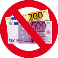 Keine 200 und 500 Euro Scheine